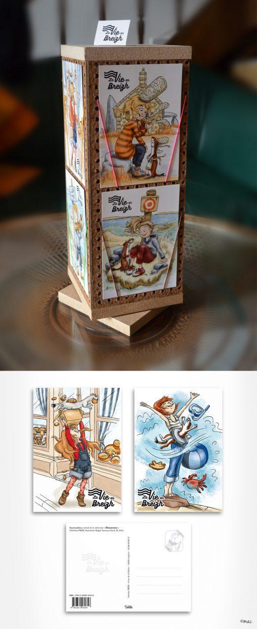 cartes postales illustration Bretagne BD magaliac