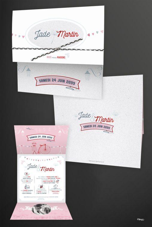 faire-part mariage rouge rose pictogrammes magaliac