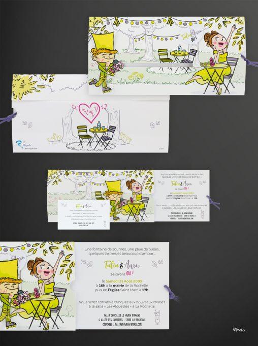 faire-part mariage vert pictogrammes magali ac