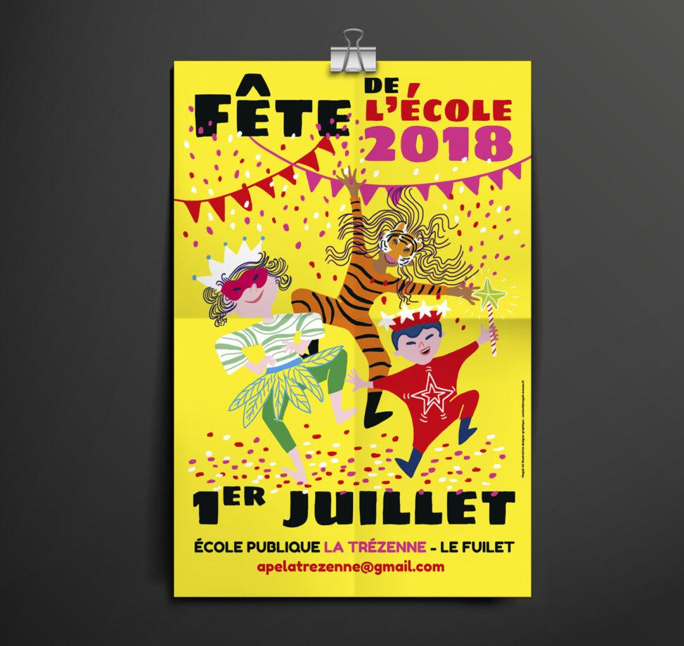 affiche fête école association illustrateur Angers