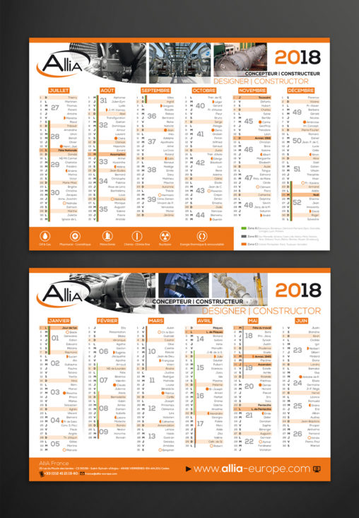 Calendrier entreprise industrie magaliac graphiste angers