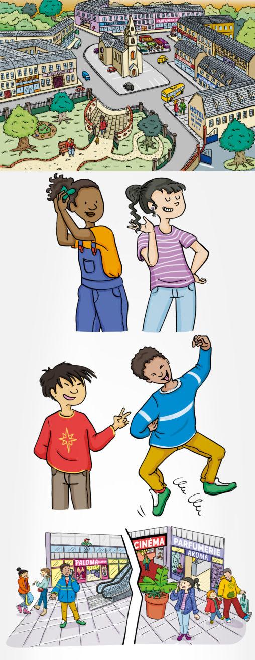 édition illustrations jeunesses décors ville personnages enfants trait encre de chine illustrateur Angers magaliac