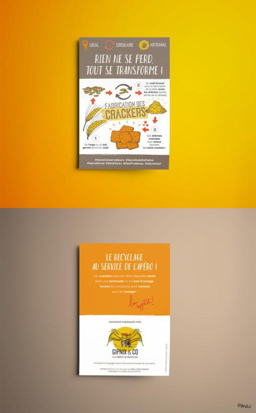 flyer carte postale création producteur bio crackers Angers croustillant jaune orange marron illustrateur graphiste Angers charte graphique