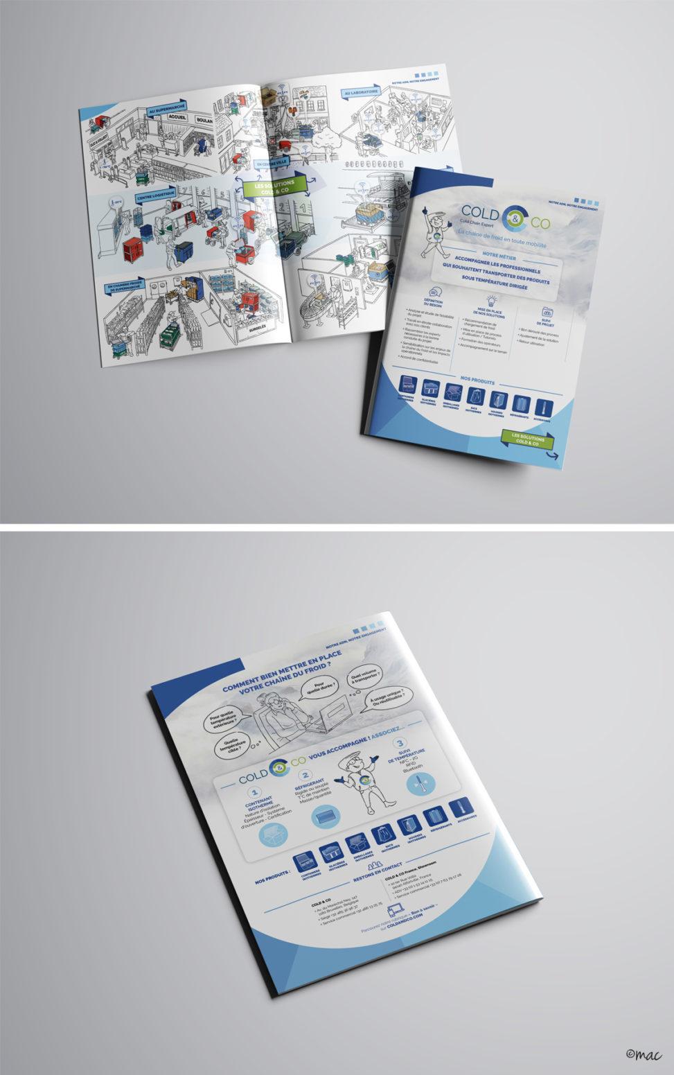 plaquette entreprise illustration process technique chaine du froid illustrateur graphiste Angers