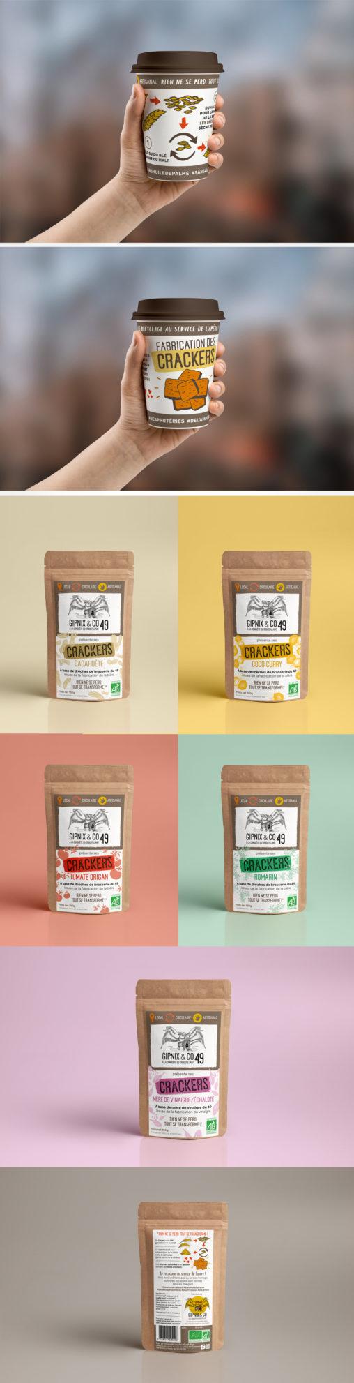 packaging gobelet réutilisable étiquettes sachets crackers salés producteur bio charte graphique illustrateur graphiste Angers magaliac jaune orange marron croustillant