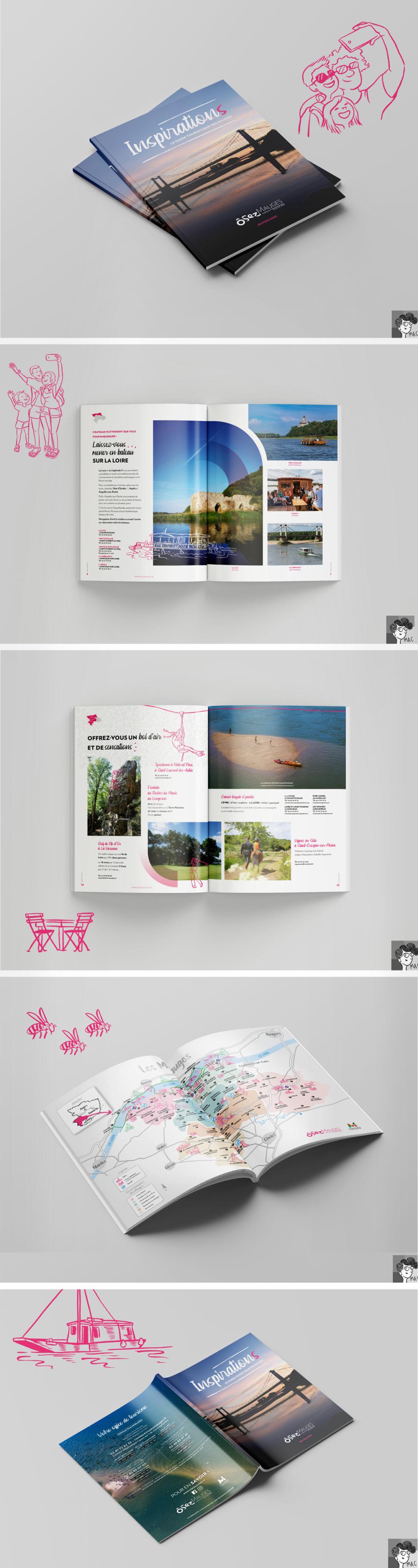 brochure tourisme territoire Les Mauges illustrateur Angers graphiste cartographie illustrations design graphique couleurs nature paysage personnage