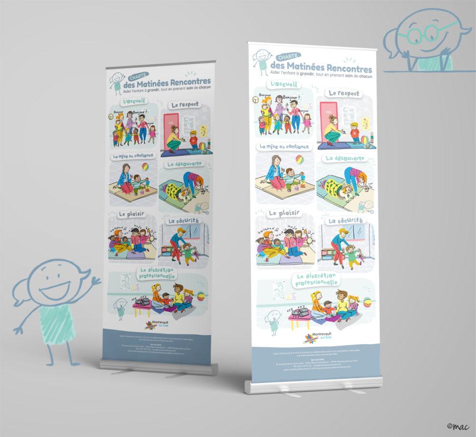 roll-up RAM Relais Assistants Maternels mascotte petite enfance graphiste illustrateur Angers magaliac
