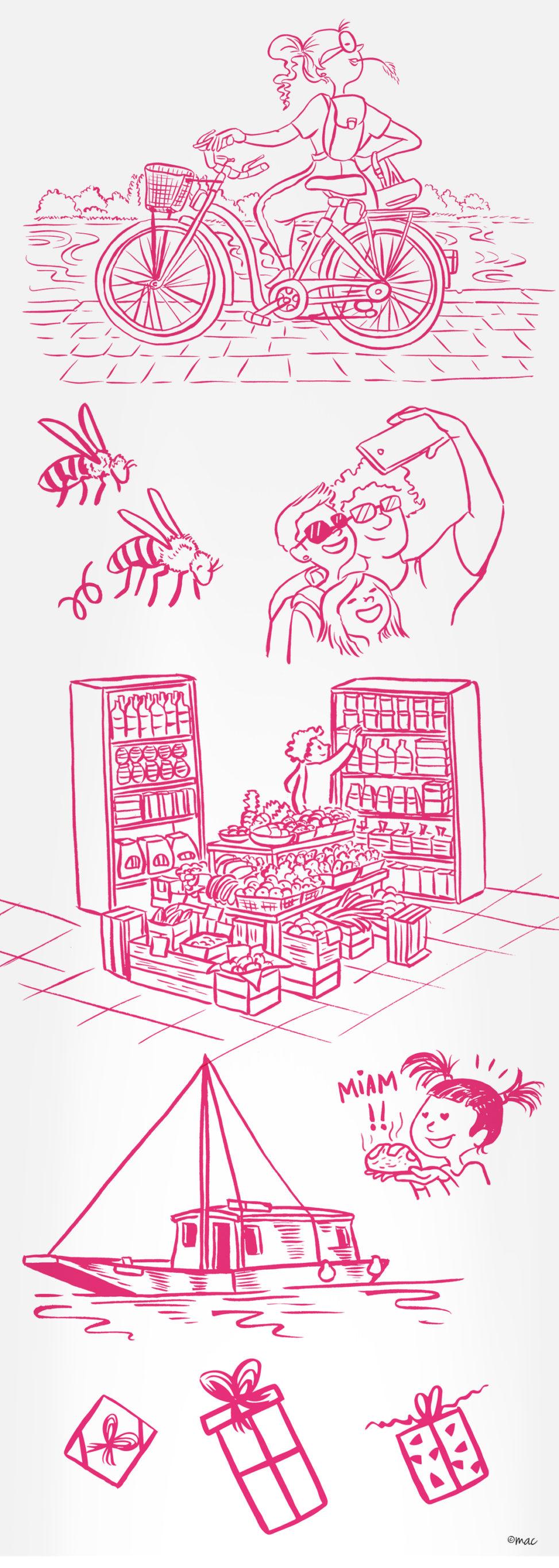 Illustration traits crayon pinceau dessin rose détails personnages nature décor objets monuments animaux tourisme territoire Les Mauges ôsezMauges illustrateur Angers