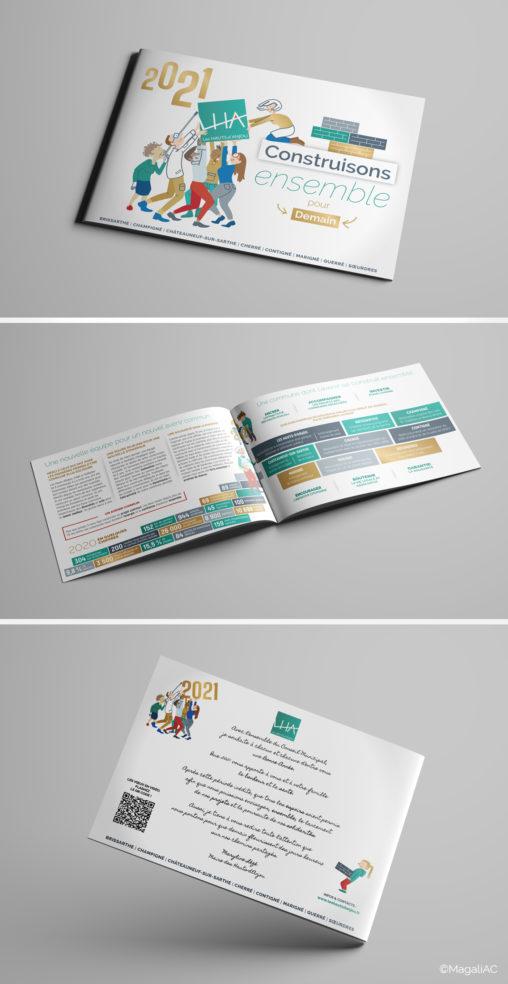 carte de vœux 2021, illustrations, personnages, design graphique, commune nouvelle, collectivité, Les Hauts d'Anjou, graphiste Angers, Magali AC, vectoriel