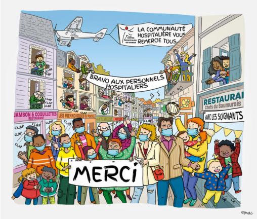 illustration, CH Saumur, illustrateur Angers, dessin, encre de Chine, personnages, ville, décor, quotidien, covid, personnel hospitalier, Magali AC