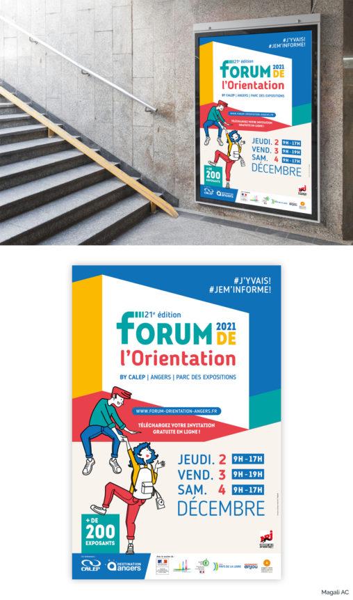 affiche forum de l'orientation parc des expositions Angers graphiqte Angers illustrateur Magali AC salon événementiel communication visuelle globale couleurs personnages collégiens étudiants