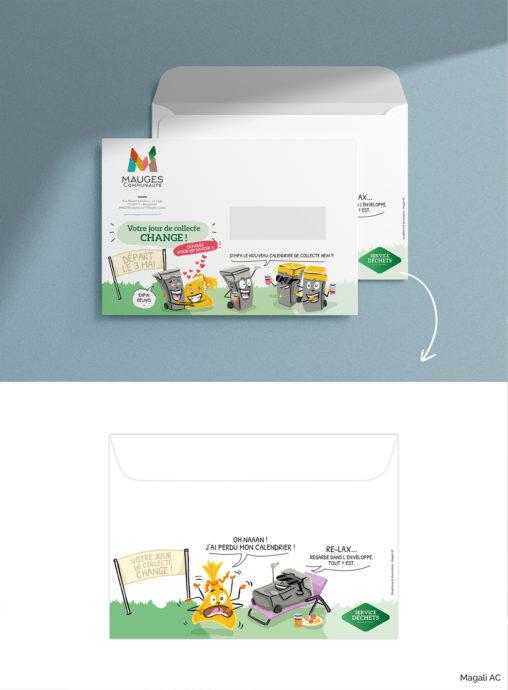 enveloppe Service Déchets Mauges Communauté collectivité illustration humour personnages design graphique Magali AC illustrateur Angers