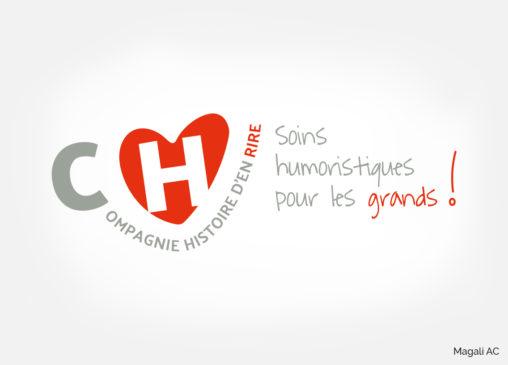 logo identité visuelle santé hôpital soins par le rire pour adulte association Compagnie Histoire d'en Rire design graphique graphiste Angers Magali AC