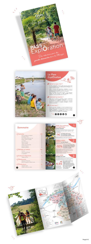 Pass ExplÔration coupons réductions avantage découvrir sortir explorer visiteur tourisme ôsezMauges Les Mauges territoire Maine et Loire design graphique graphiste Angers Magali AC