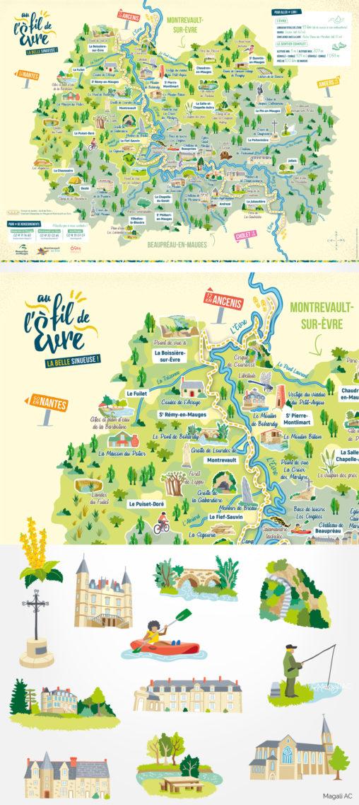 cartographie carte illustrée territoire richesse trésor de territoire collectivité rivière graphiste illustrateur Angers Magali AC couleurs pictogrammes amour de territoire