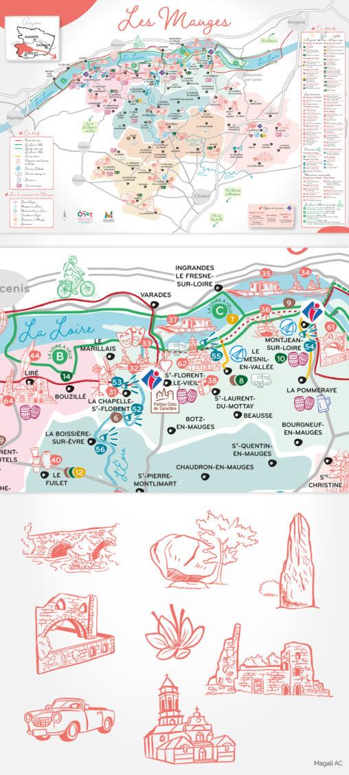 carte poster cartographie tourisme office de tourisme collectivité Mauges Communauté illustrations couleur corail richesses de territoire illustrations au trait illustrateur graphiste Angers Magali AC